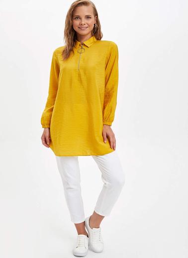 DeFacto Gömlek Yaka Tunik Sarı